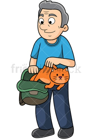 Old man letting cat out of the bag. PNG - JPG and vector EPS file formats (infinitely scalable). Image isolated on transparent background.