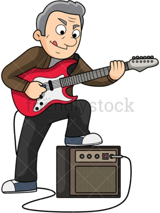 Old man playing electric guitar. PNG - JPG and vector EPS file formats (infinitely scalable). Image isolated on transparent background.