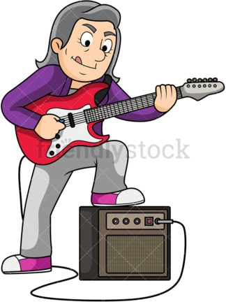 Old woman playing electric guitar. PNG - JPG and vector EPS file formats (infinitely scalable). Image isolated on transparent background.