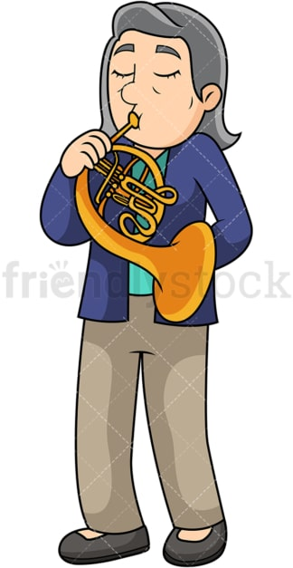 Old woman playing french horn. PNG - JPG and vector EPS file formats (infinitely scalable). Image isolated on transparent background.