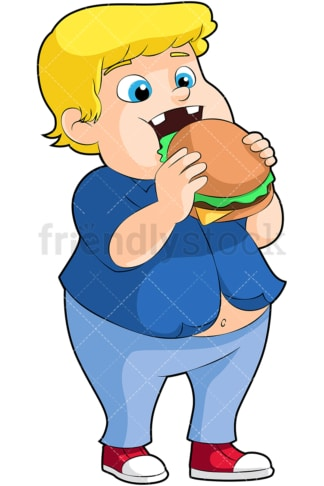 Fat boy eating hamburger. PNG - JPG and vector EPS file formats (infinitely scalable). Image isolated on transparent background.