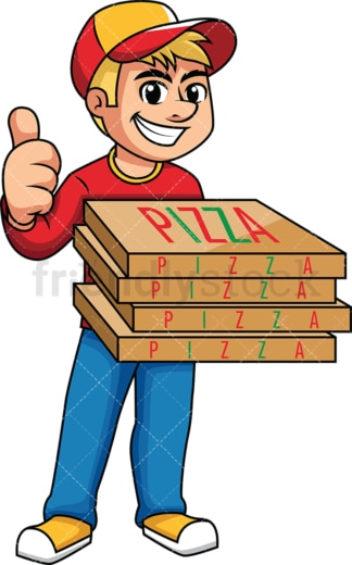 Pizza delivery boy thumbs up. PNG - JPG and vector EPS (infinitely scalable). Image isolated on transparent background.