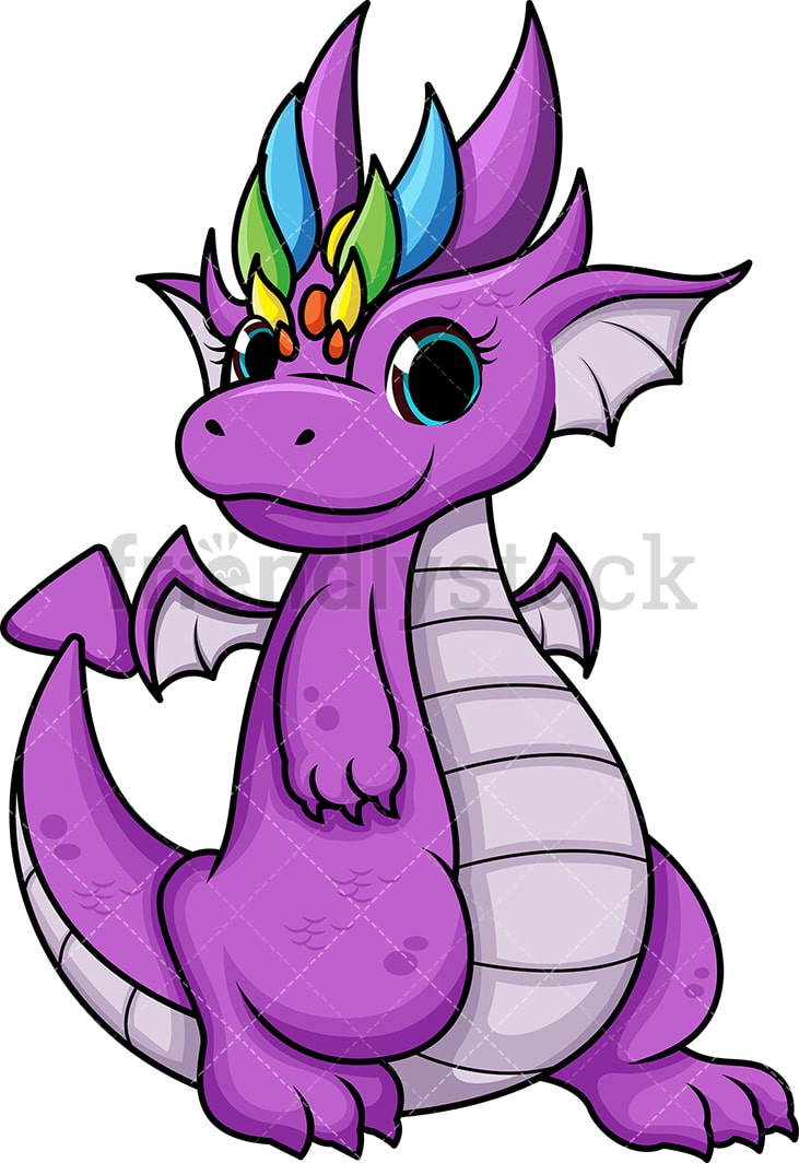 Purple Female Dragon Cartoon Vector Clipart - Friendlystock-6331