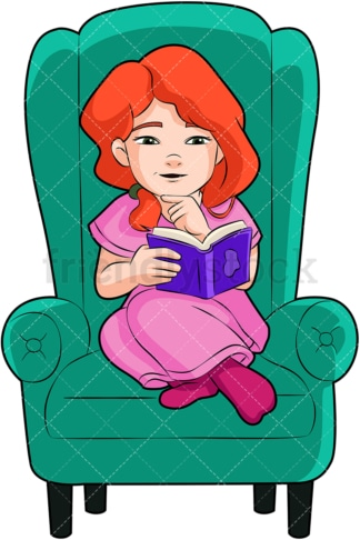Little girl reading a novel. PNG - JPG and vector EPS (infinitely scalable). Image isolated on transparent background.