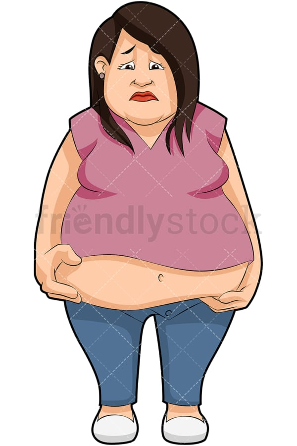 Overweight woman looking sad. PNG - JPG and vector EPS (infinitely scalable). Image isolated on transparent background.