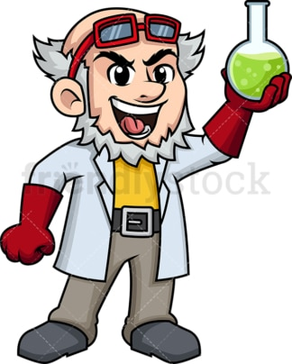 Scientist proud of his discovery. PNG - JPG and vector EPS (infinitely scalable). Image isolated on transparent background.