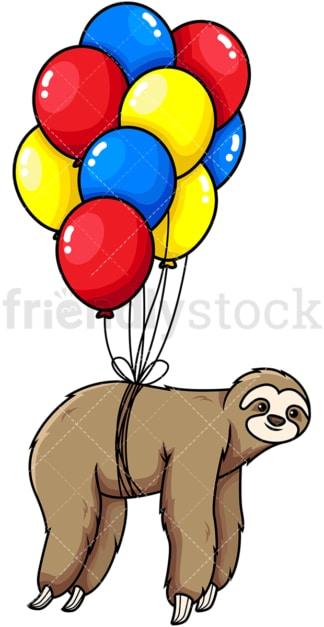 Sloth flying with balloons. PNG - JPG and vector EPS (infinitely scalable). Image isolated on transparent background.