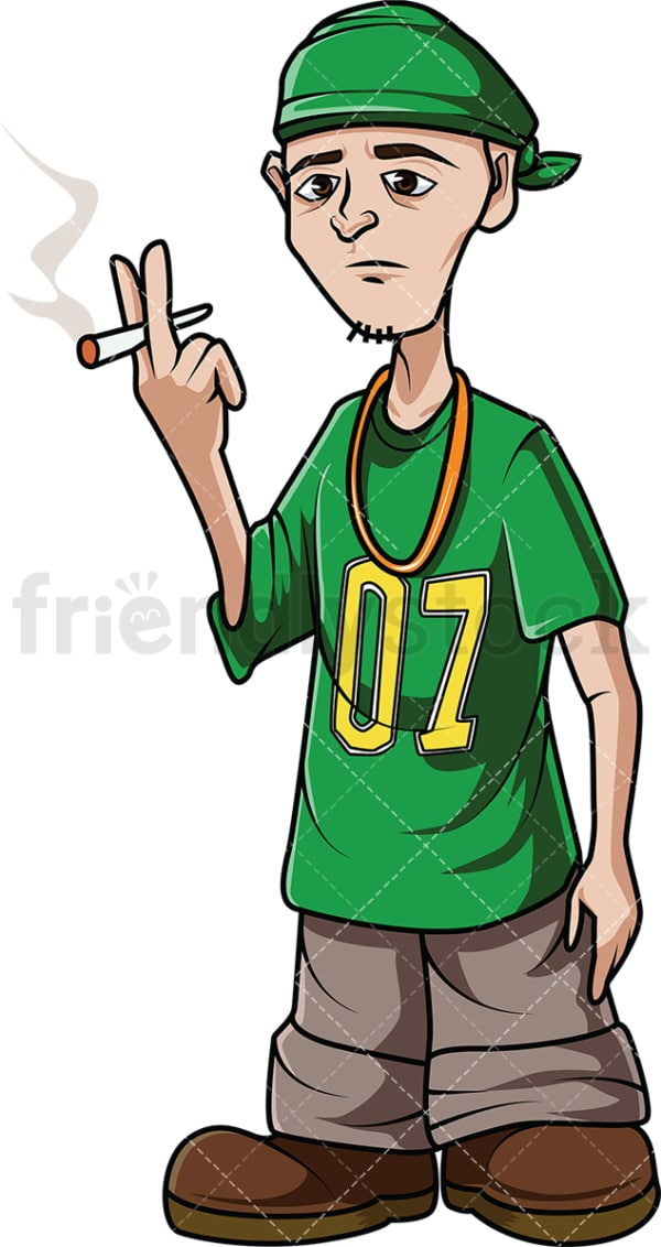 Hip hop man smoking. PNG - JPG and vector EPS (infinitely scalable). Image isolated on transparent background.
