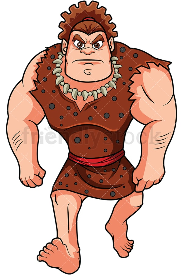 Caveman walking angrily. PNG - JPG and vector EPS (infinitely scalable). Image isolated on transparent background.