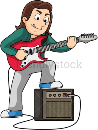 Woman playing electric guitar. PNG - JPG and vector EPS file formats (infinitely scalable). Image isolated on transparent background.