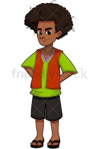 Teenage black kid with afro hair. PNG - JPG and vector EPS (infinitely scalable). Image isolated on transparent background.