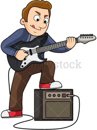 Man playing electric guitar. PNG - JPG and vector EPS file formats (infinitely scalable). Image isolated on transparent background.