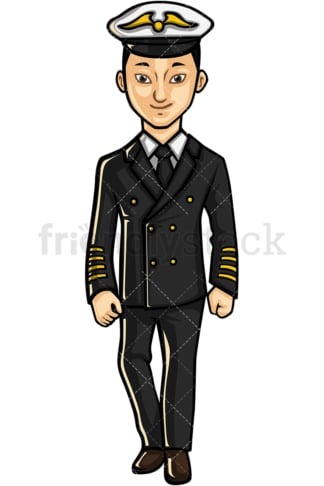 Asian male airline pilot. PNG - JPG and vector EPS file formats (infinitely scalable). Image isolated on transparent background.