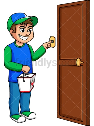 Asian food delivery boy ringing doorbell. PNG - JPG and vector EPS (infinitely scalable). Image isolated on transparent background.
