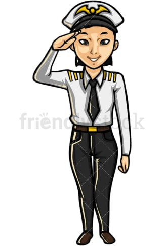 Asian female airline pilot. PNG - JPG and vector EPS file formats (infinitely scalable). Image isolated on transparent background.