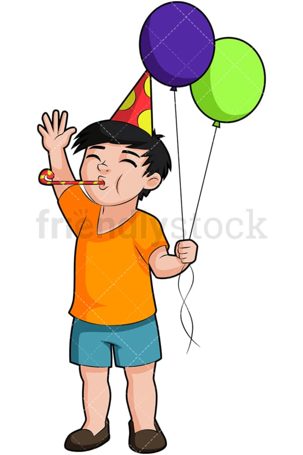 Birthday boy blowing party horn. PNG - JPG and vector EPS (infinitely scalable). Image isolated on transparent background.