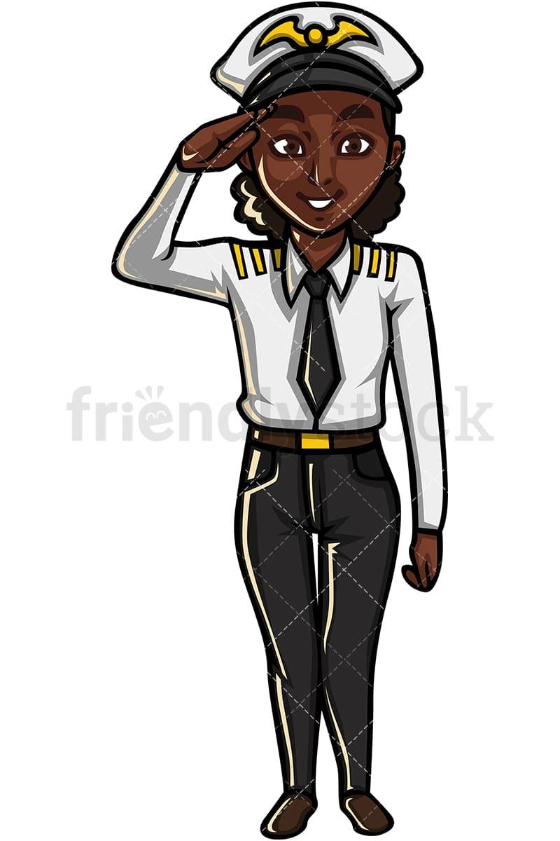 Black Female Pilot Cartoon Vector Clipart - FriendlyStock