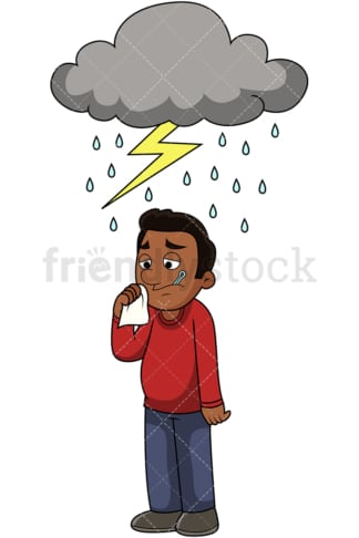 Black guy feels under the weather. PNG - JPG and vector EPS file formats (infinitely scalable). Image isolated on transparent background.