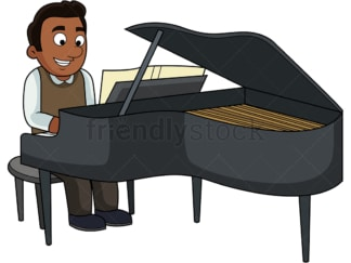 Black guy playing the piano. PNG - JPG and vector EPS file formats (infinitely scalable). Image isolated on transparent background.