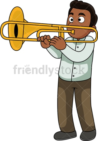 Black guy playing the trombone. PNG - JPG and vector EPS file formats (infinitely scalable). Image isolated on transparent background.