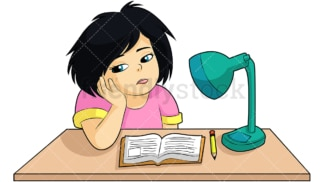 Bored girl not doing homework. PNG - JPG and vector EPS (infinitely scalable). Image isolated on transparent background.