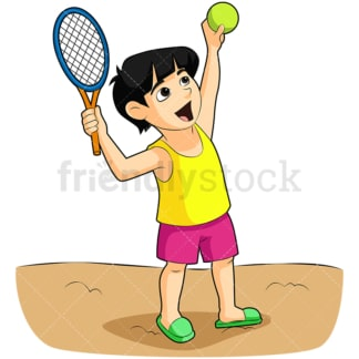 Boy playing rackets on the beach. PNG - JPG and vector EPS (infinitely scalable). Image isolated on transparent background.