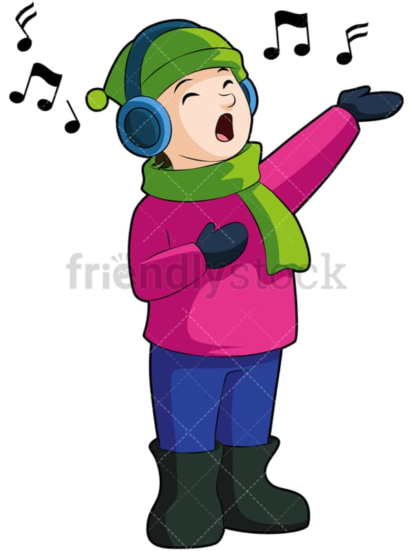 Kid singing christmas carols. PNG - JPG and vector EPS (infinitely scalable). Image isolated on transparent background.