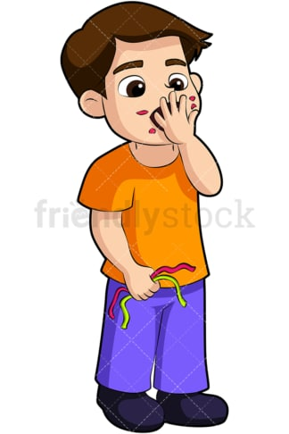 Boy stuffing candy in his mouth. PNG - JPG and vector EPS (infinitely scalable). Image isolated on transparent background.