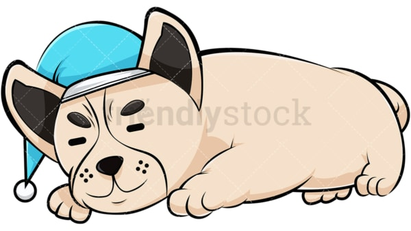 Bulldog sleeping with nightcap. PNG - JPG and vector EPS (infinitely scalable). Image isolated on transparent background.