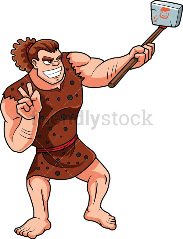 Caveman taking selfie with primitive phone. PNG - JPG and vector EPS (infinitely scalable). Image isolated on transparent background.