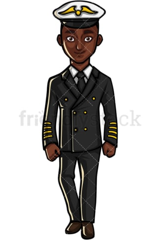 African American airline pilot. PNG - JPG and vector EPS file formats (infinitely scalable). Image isolated on transparent background.