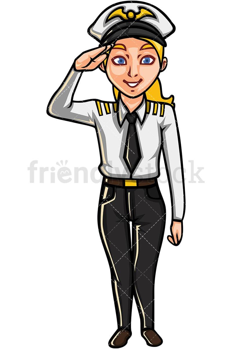 Commercial Airline Female Pilot Cartoon Vector Clipart ...