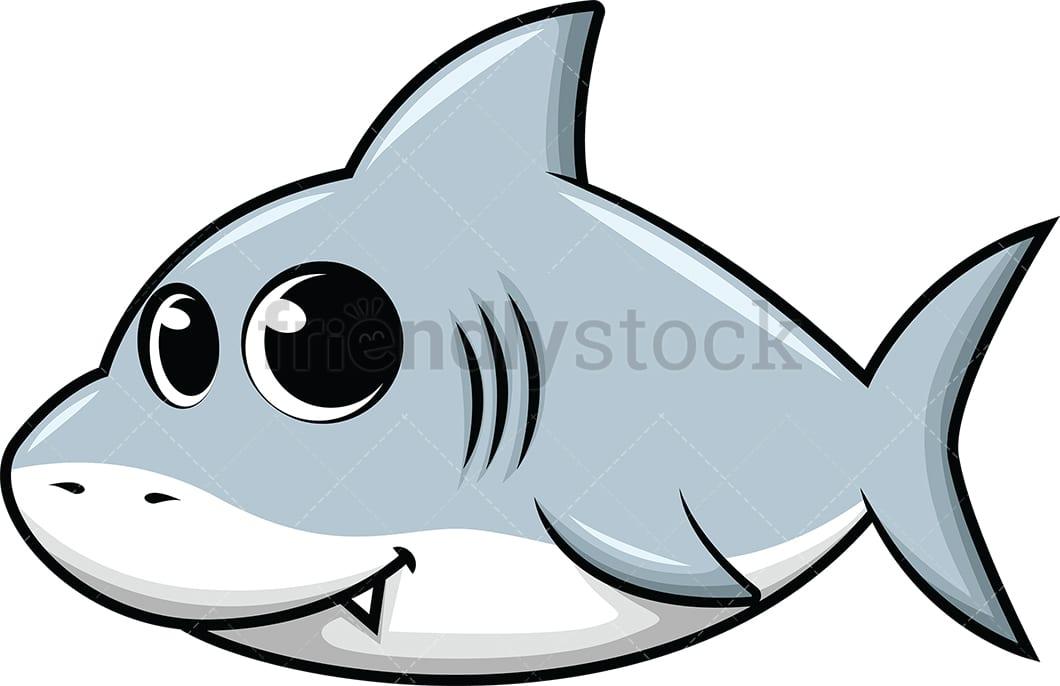 Cute Baby Shark Cartoon Vector Clipart - FriendlyStock