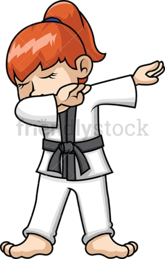 Karate girl doing the dab. PNG - JPG and vector EPS file formats (infinitely scalable). Image isolated on transparent background.