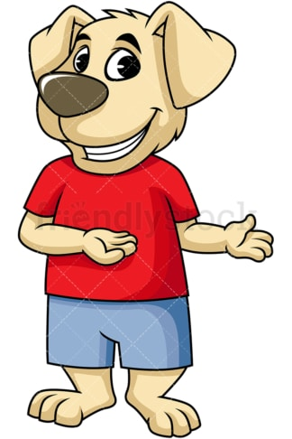 Dog cartoon character presenting. PNG - JPG and vector EPS (infinitely scalable). Image isolated on transparent background.