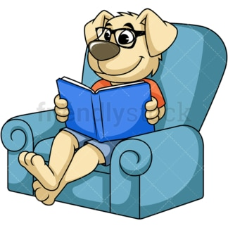 Dog cartoon character reading book. PNG - JPG and vector EPS (infinitely scalable). Image isolated on transparent background.