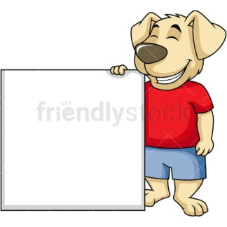 Dog cartoon character wide empty sign. PNG - JPG and vector EPS (infinitely scalable). Image isolated on transparent background.