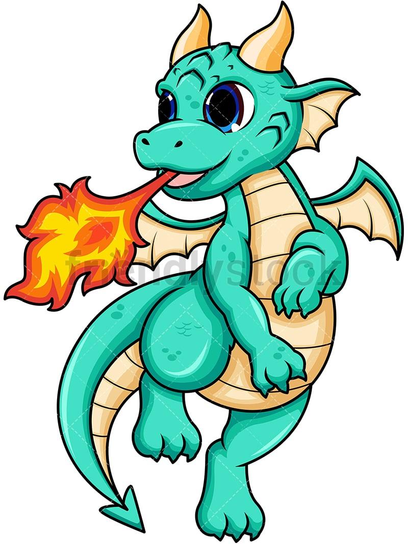 Female Dragon Breathing Fire Cartoon Vector Clipart ...