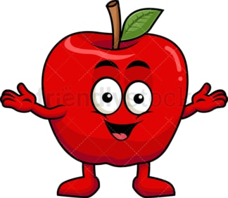 Happy apple cartoon character. PNG - JPG and vector EPS (infinitely scalable). Image isolated on transparent background.