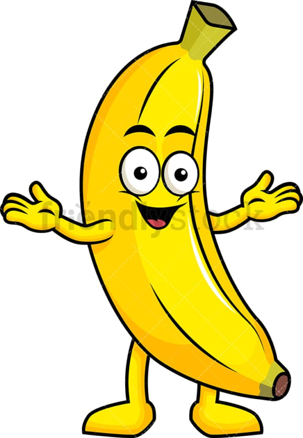 Happy banana cartoon character. PNG - JPG and vector EPS (infinitely scalable). Image isolated on transparent background.