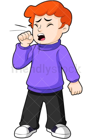 Sick little boy coughing. PNG - JPG and vector EPS (infinitely scalable). Image isolated on transparent background.