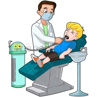 Little kid getting his teeth cleaned. PNG - JPG and vector EPS (infinitely scalable). Image isolated on transparent background.