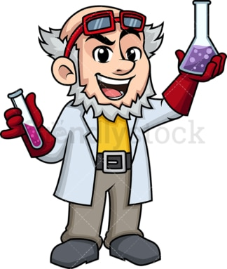 Crazy scientist holding chemicals. PNG - JPG and vector EPS (infinitely scalable). Image isolated on transparent background.