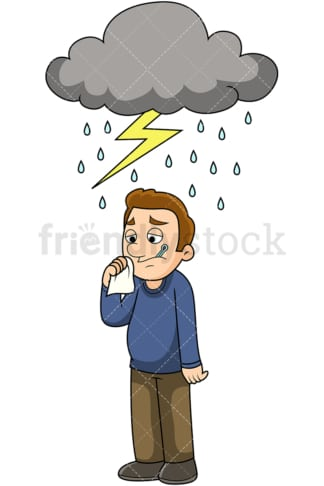 Man feeling under the weather. PNG - JPG and vector EPS file formats (infinitely scalable). Image isolated on transparent background.