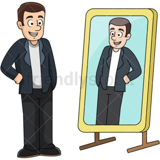 Man looking in mirror. PNG - JPG and vector EPS file formats (infinitely scalable). Image isolated on transparent background.
