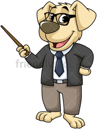 Dog character giving presentation. PNG - JPG and vector EPS (infinitely scalable). Image isolated on transparent background.