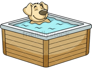 Dog character in hot tub. PNG - JPG and vector EPS (infinitely scalable). Image isolated on transparent background.