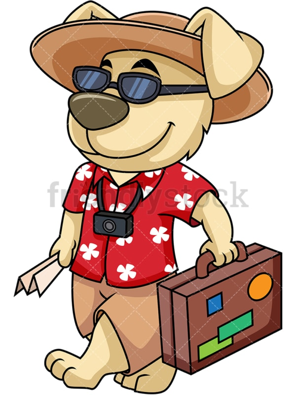 Cartoon character dog traveling. PNG - JPG and vector EPS (infinitely scalable). Image isolated on transparent background.