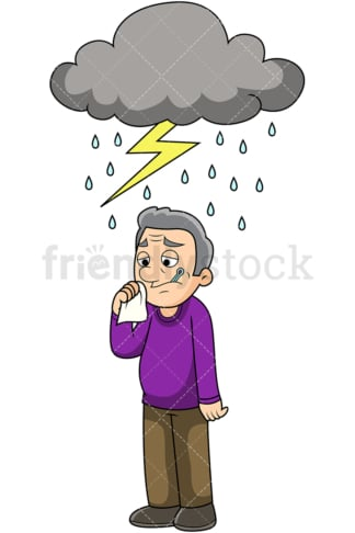 Old man feeling under the weather. PNG - JPG and vector EPS file formats (infinitely scalable). Image isolated on transparent background.