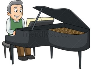 Old man playing the piano. PNG - JPG and vector EPS file formats (infinitely scalable). Image isolated on transparent background.